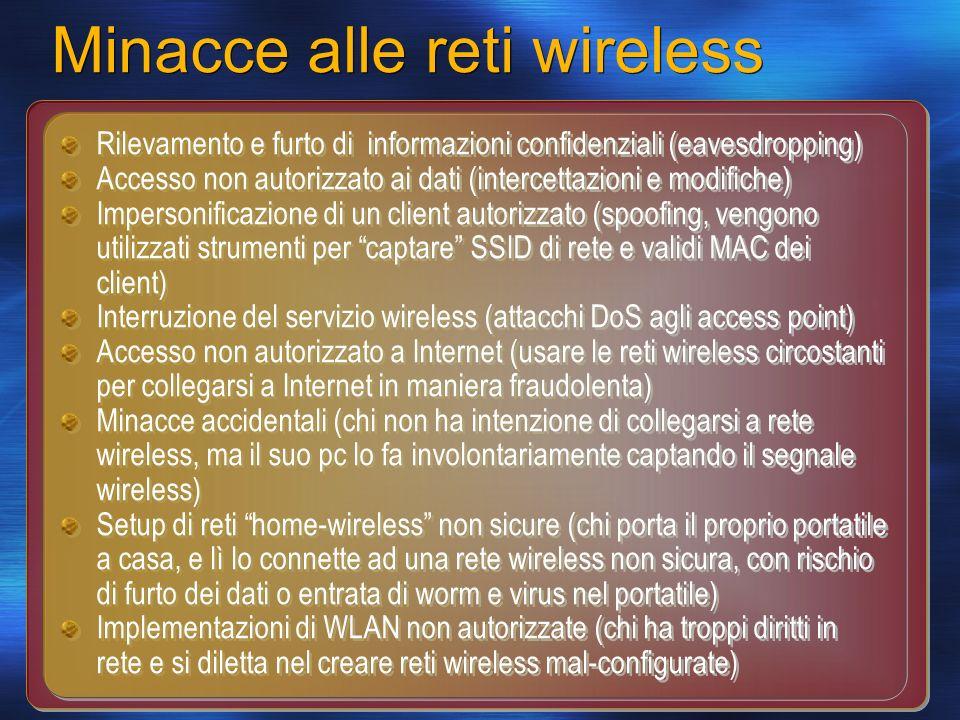 Minacce alle reti wireless Rilevamento e furto di informazioni confidenziali (eavesdropping) Accesso non autorizzato ai dati (intercettazioni e modifi