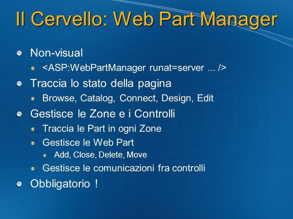 Il Cervello: Web Part Manager Non-visual Traccia lo stato della pagina Browse, Catalog, Connect, Design, Edit Gestisce le Zone e i Controlli Traccia l