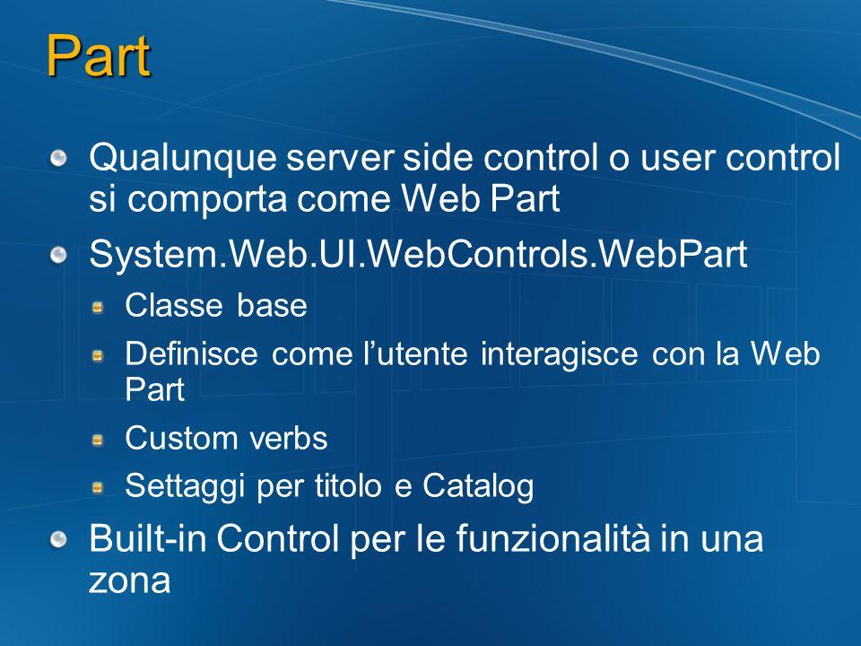 Part Qualunque server side control o user control si comporta come Web Part System.Web.UI.WebControls.WebPart Classe base Definisce come lutente inter