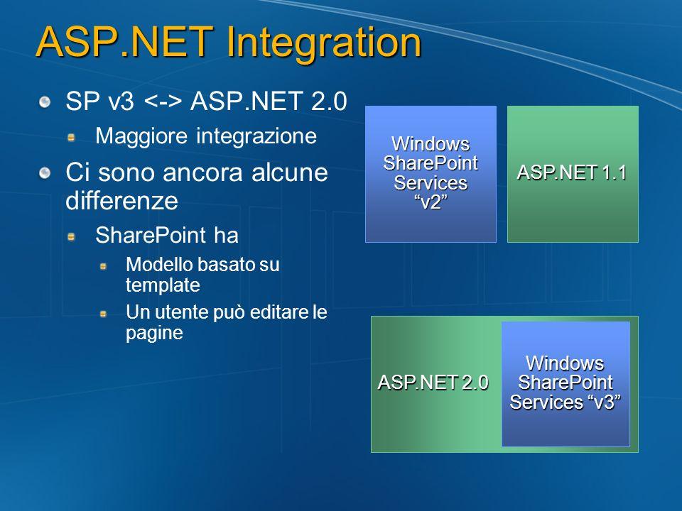 ASP.NET Integration SP v3 ASP.NET 2.0 Maggiore integrazione Ci sono ancora alcune differenze SharePoint ha Modello basato su template Un utente può ed