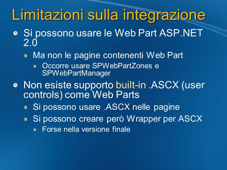 Limitazioni sulla integrazione Si possono usare le Web Part ASP.NET 2.0 Ma non le pagine contenenti Web Part Occorre usare SPWebPartZones e SPWebPartM