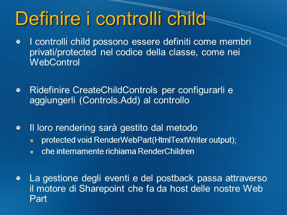 Definire i controlli child I controlli child possono essere definiti come membri privati/protected nel codice della classe, come nei WebControl Ridefi