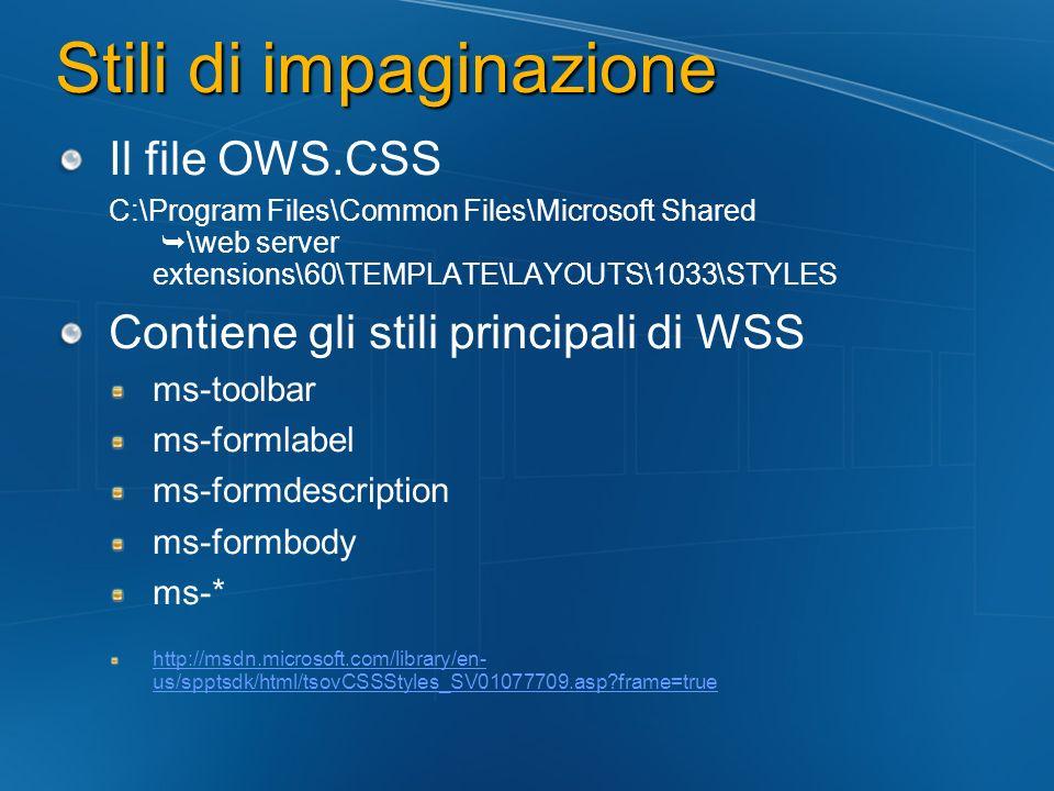 Stili di impaginazione Il file OWS.CSS C:\Program Files\Common Files\Microsoft Shared \web server extensions\60\TEMPLATE\LAYOUTS\1033\STYLES Contiene