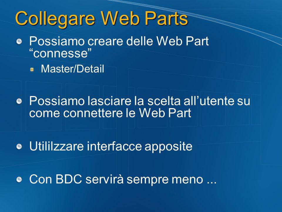 Collegare Web Parts Possiamo creare delle Web Part connesse Master/Detail Possiamo lasciare la scelta allutente su come connettere le Web Part Utililz