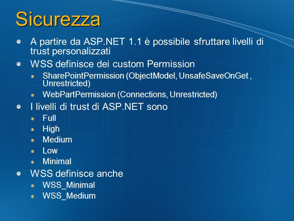 Sicurezza A partire da ASP.NET 1.1 è possibile sfruttare livelli di trust personalizzati WSS definisce dei custom Permission SharePointPermission (Obj