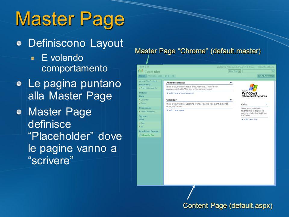 Definiscono Layout E volendo comportamento Le pagina puntano alla Master Page Master Page definisce Placeholder dove le pagine vanno a scrivere Master