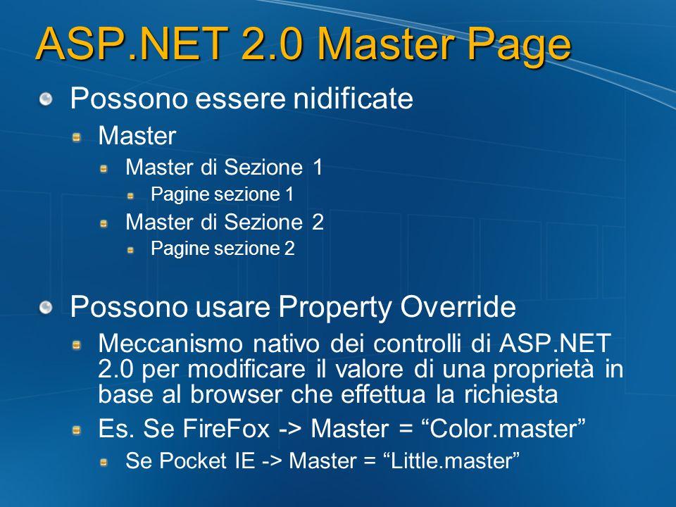 ASP.NET 2.0 Master Page Possono essere nidificate Master Master di Sezione 1 Pagine sezione 1 Master di Sezione 2 Pagine sezione 2 Possono usare Prope