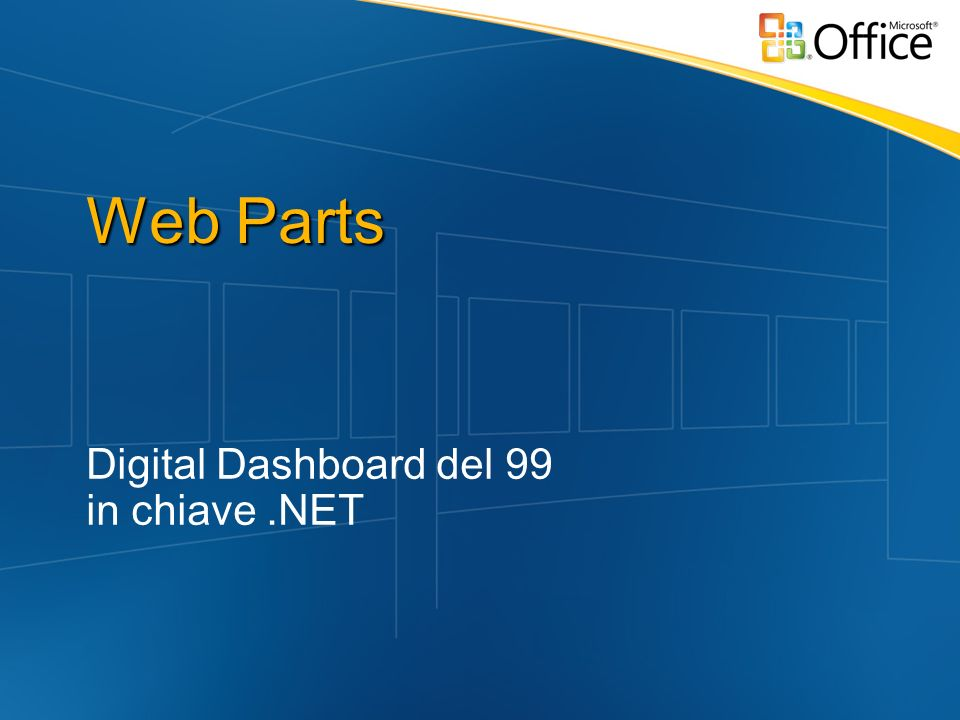 Web Parts Digital Dashboard del 99 in chiave.NET
