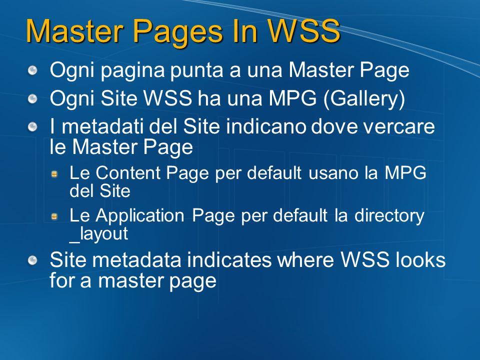 Master Pages In WSS Ogni pagina punta a una Master Page Ogni Site WSS ha una MPG (Gallery) I metadati del Site indicano dove vercare le Master Page Le