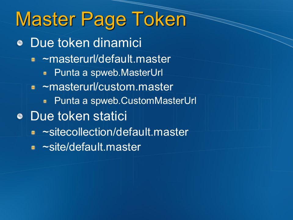 Master Page Token Due token dinamici ~masterurl/default.master Punta a spweb.MasterUrl ~masterurl/custom.master Punta a spweb.CustomMasterUrl Due toke