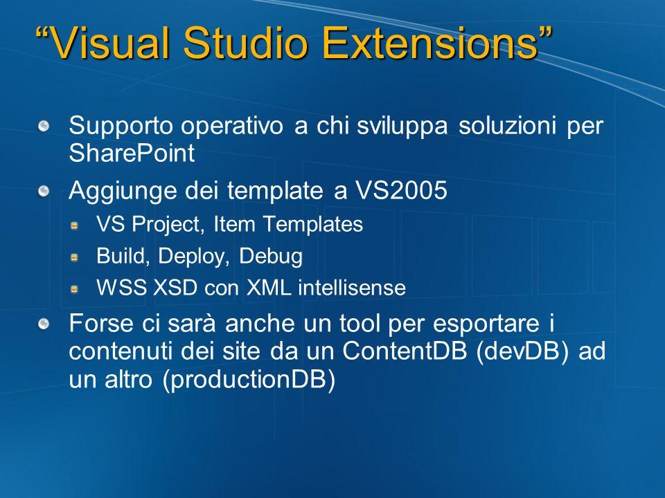 Visual Studio Extensions Supporto operativo a chi sviluppa soluzioni per SharePoint Aggiunge dei template a VS2005 VS Project, Item Templates Build, D