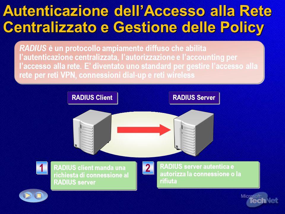 Autenticazione dellAccesso alla Rete Centralizzato e Gestione delle Policy RADIUS è un protocollo ampiamente diffuso che abilita lautenticazione centr