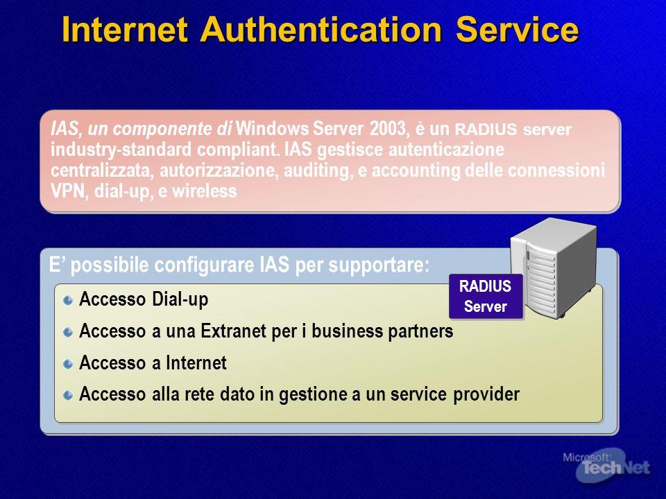Internet Authentication Service IAS, un componente di Windows Server 2003, è un RADIUS server industry-standard compliant. IAS gestisce autenticazione