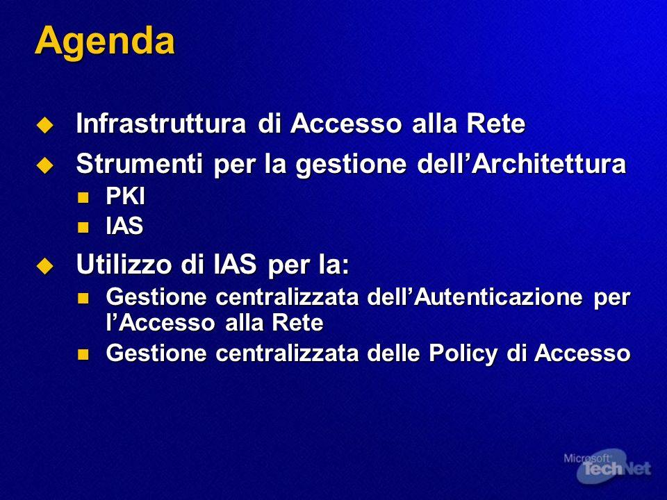 Agenda Infrastruttura di Accesso alla Rete Infrastruttura di Accesso alla Rete Strumenti per la gestione dellArchitettura Strumenti per la gestione de