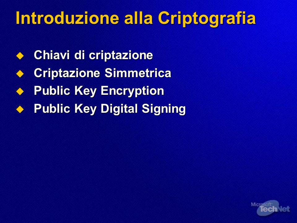 Introduzione alla Criptografia Chiavi di criptazione Chiavi di criptazione Criptazione Simmetrica Criptazione Simmetrica Public Key Encryption Public