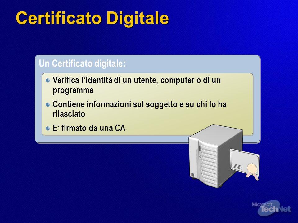 Un Certificato digitale: Verifica lidentità di un utente, computer o di un programma Contiene informazioni sul soggetto e su chi lo ha rilasciato E fi