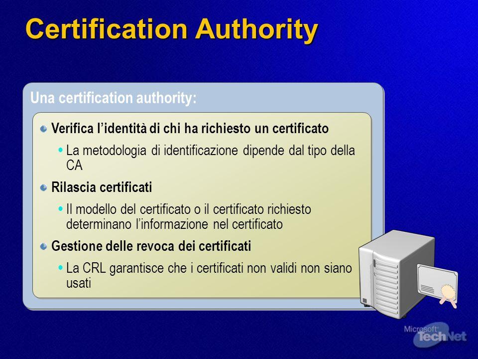 Una certification authority: Verifica lidentità di chi ha richiesto un certificato La metodologia di identificazione dipende dal tipo della CA Rilasci
