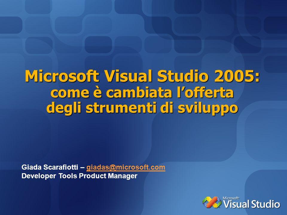 Microsoft Visual Studio 2005: come è cambiata lofferta degli strumenti di sviluppo Giada Scarafiotti – giadas@microsoft.comgiadas@microsoft.com Develo