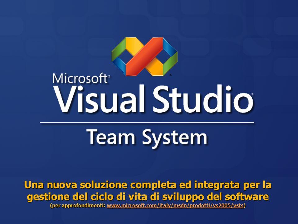 Una nuova soluzione completa ed integrata per la gestione del ciclo di vita di sviluppo del software (per approfondimenti: www.microsoft.com/italy/msd