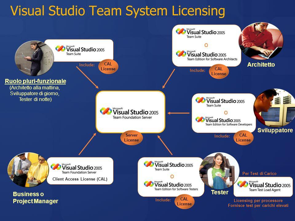 Visual Studio Team System Licensing O O O Business o Project Manager Sviluppatore Architetto Ruolo pluri-funzionale (Architetto alla mattina, Sviluppa