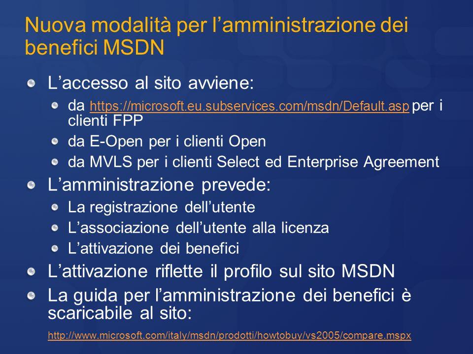Nuova modalità per lamministrazione dei benefici MSDN Laccesso al sito avviene: da https://microsoft.eu.subservices.com/msdn/Default.asp per i clienti