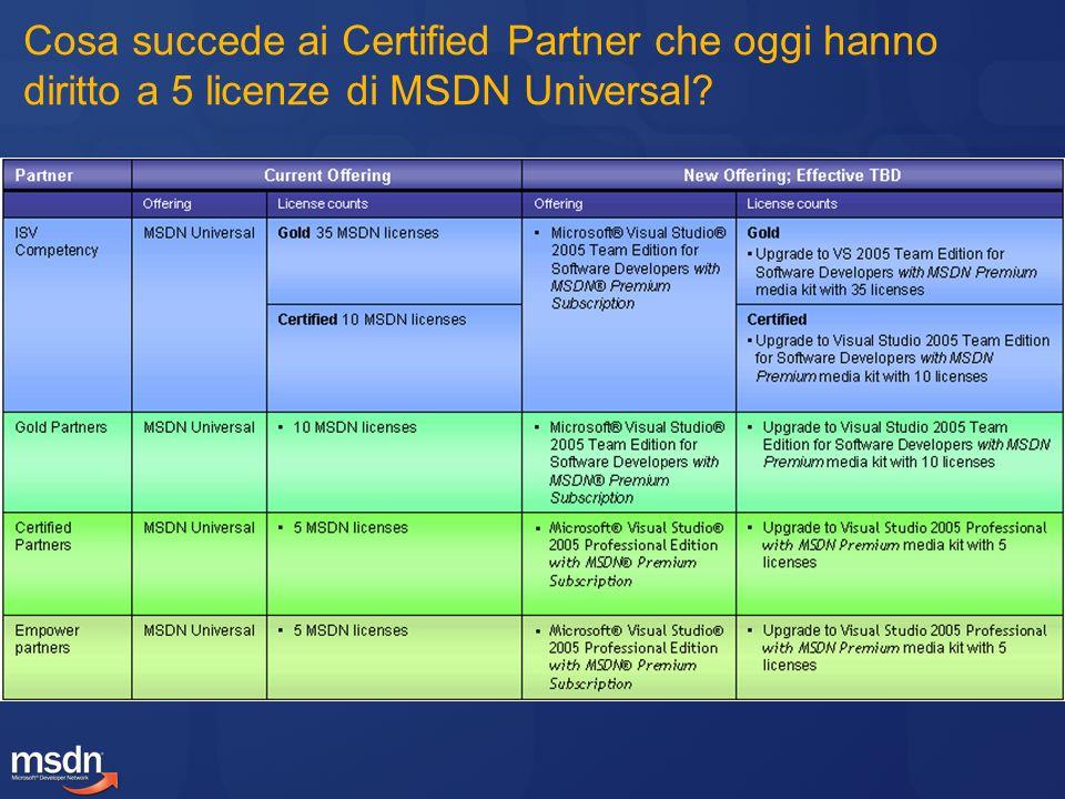 Cosa succede ai Certified Partner che oggi hanno diritto a 5 licenze di MSDN Universal?
