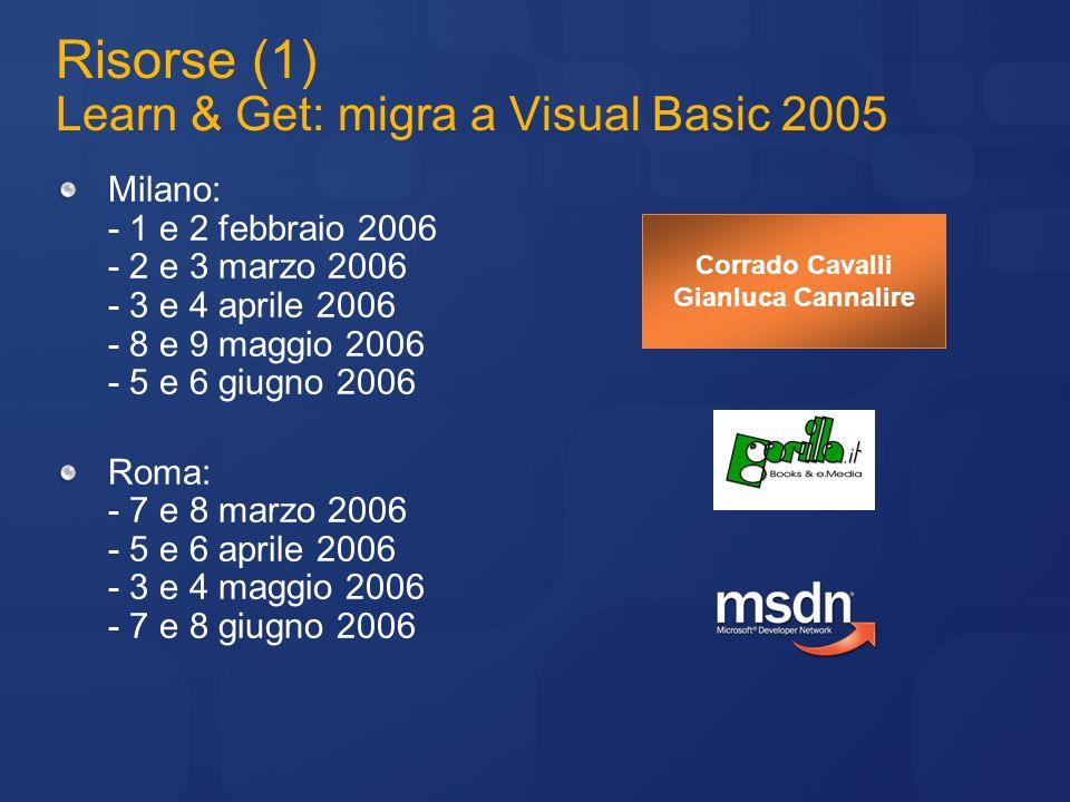 Risorse (1) Learn & Get: migra a Visual Basic 2005 Milano: - 1 e 2 febbraio 2006 - 2 e 3 marzo 2006 - 3 e 4 aprile 2006 - 8 e 9 maggio 2006 - 5 e 6 gi