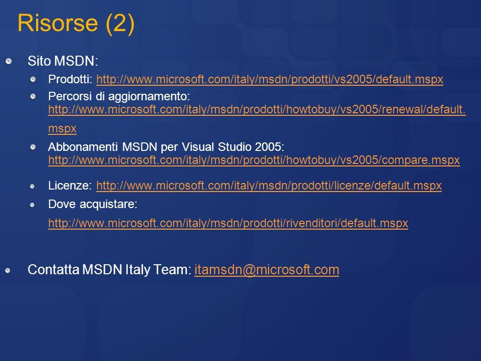 Risorse (2) Sito MSDN: Prodotti: http://www.microsoft.com/italy/msdn/prodotti/vs2005/default.mspxhttp://www.microsoft.com/italy/msdn/prodotti/vs2005/d