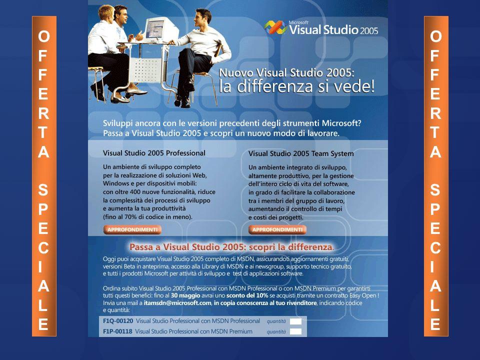 La vecchia offerta Visual Studio 2003 Strumenti di base Visual C#.NET 2003 Visual C++.NET 2003 Visual J#.NET 2003 Visual Basic.NET 2003 Strumenti professionali Visual Studio.NET Enterprise Architect 2003 Visual Studio.NET Enterprise Developer 2003 Visual Studio.NET Professional 2003 Visual Studio Tools for Office 2003 Altri strumenti Visual SourceSafe 6.0 VisualFox Pro 8.0 Prodotti offerti in sola Licenza