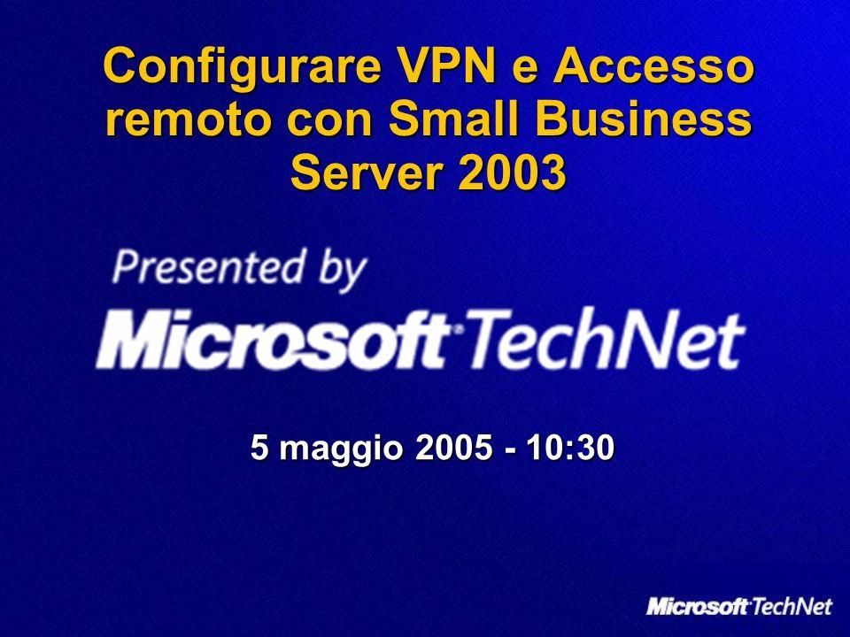 Riferimenti e risorse Risorse tecniche per Windows Small Business Server 2003 http://www.microsoft.com/italy/windowsserver2003/sbs/techi nfo/default.mspx Risorse tecniche per Windows Small Business Server 2003 http://www.microsoft.com/italy/windowsserver2003/sbs/techi nfo/default.mspx http://www.microsoft.com/italy/windowsserver2003/sbs/techi nfo/default.mspx http://www.microsoft.com/italy/windowsserver2003/sbs/techi nfo/default.mspx MOC Course 2395: Design, Deploy, and Manage a Network Solution for a Small and Medium Business http://www.microsoft.com/traincert/syllabi/2395AFinal.asp MOC Course 2395: Design, Deploy, and Manage a Network Solution for a Small and Medium Business http://www.microsoft.com/traincert/syllabi/2395AFinal.asp http://www.microsoft.com/traincert/syllabi/2395AFinal.asp Exam 70-282: Design, Deploy, and Manage a Network Solution for a Small- and Medium-Sized Business http://www.microsoft.com/learning/exams/70-282.asp Exam 70-282: Design, Deploy, and Manage a Network Solution for a Small- and Medium-Sized Business http://www.microsoft.com/learning/exams/70-282.asp http://www.microsoft.com/learning/exams/70-282.asp