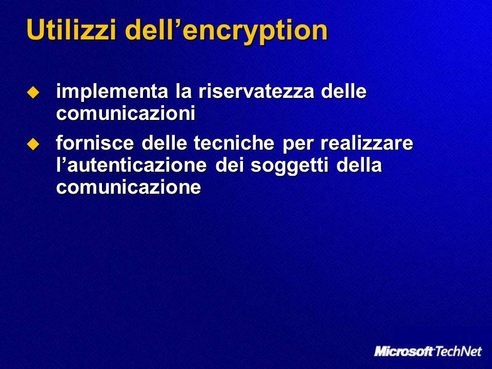 Utilizzi dellencryption implementa la riservatezza delle comunicazioni implementa la riservatezza delle comunicazioni fornisce delle tecniche per real