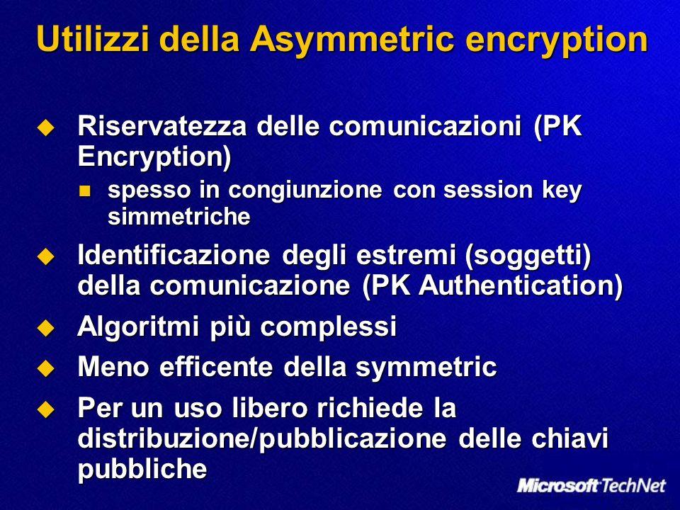 Utilizzi della Asymmetric encryption Riservatezza delle comunicazioni (PK Encryption) Riservatezza delle comunicazioni (PK Encryption) spesso in congi