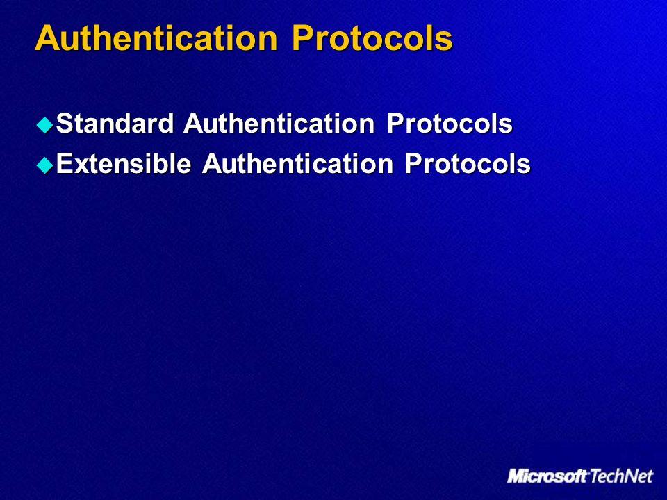 Authentication Protocols Standard Authentication Protocols Standard Authentication Protocols Extensible Authentication Protocols Extensible Authentica