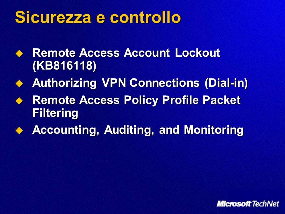 Sicurezza e controllo Remote Access Account Lockout (KB816118) Remote Access Account Lockout (KB816118) Authorizing VPN Connections (Dial-in) Authoriz
