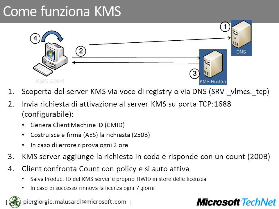 | piergiorgio.malusardi@microsoft.com | Come funziona KMS 1.Scoperta del server KMS via voce di registry o via DNS (SRV _vlmcs._tcp) 2.Invia richiesta di attivazione al server KMS su porta TCP:1688 (configurabile): Genera Client Machine ID (CMID) Costruisce e firma (AES) la richiesta (250B) In caso di errore riprova ogni 2 ore 3.KMS server aggiunge la richiesta in coda e risponde con un count (200B) 4.Client confronta Count con policy e si auto attiva Salva Product ID del KMS server e proprio HWID in store delle licenzea In caso di successo rinnova la licenza ogni 7 giorni 1 2 3 4