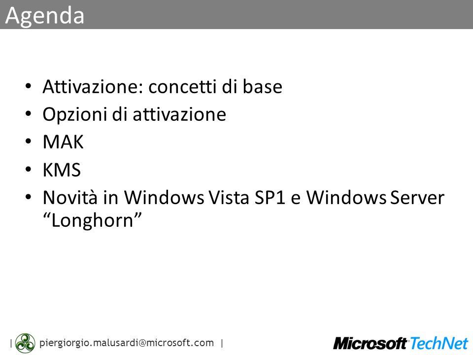 | piergiorgio.malusardi@microsoft.com | Agenda Attivazione: concetti di base Opzioni di attivazione MAK KMS Novità in Windows Vista SP1 e Windows Server Longhorn