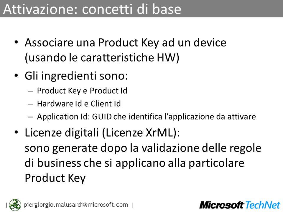 | piergiorgio.malusardi@microsoft.com | Product Key e Product Id Product Key (PKey) = informazioni firmate – Rappresentata in forma di 5x5 caratteri Es.