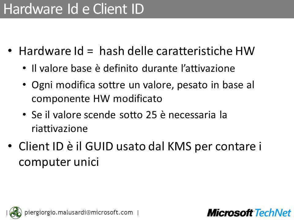 | piergiorgio.malusardi@microsoft.com | Regole di business Non configurabili Grace period (OOB, OOT), limite di rearm, validità della licenza, numero di macchine necessarie per lattivazione Configurabili dal cliente Intervallo di rinnovo, pubblicazione in DNS, porta TCP/IP, Indirizzo dellhost con KMS Configurabili sul server Microsoft Numero di License Reissuance with hwid In Tolerance (RIT) Numero di License Reissuance with hwid Out of Tolerance (ROT) Periodo di License Reissuance with hwid in Acceptable Tolerance (RAT) Pkey bloccate Nessuna attivazione consentita Blocco geografico: attivazione non consentita al di fuori della regione geografica Blocco di subnet: attivazione non consentita al di fuori della subnet definita