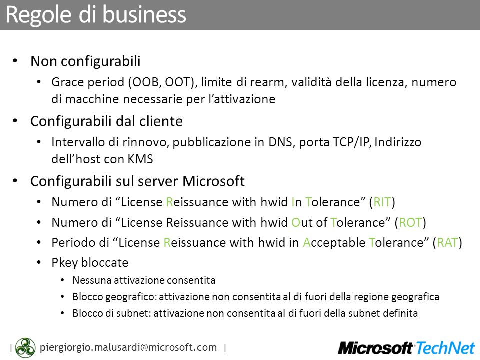| piergiorgio.malusardi@microsoft.com | Per altre informazioni… Windows Vista http://www.live.com