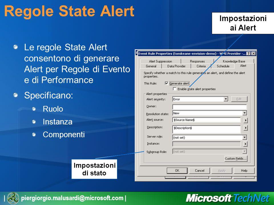 | piergiorgio.malusardi@microsoft.com | Regole State Alert Le regole State Alert consentono di generare Alert per Regole di Evento e di Performance Specificano: Ruolo Instanza Componenti Impostazioni di stato Impostazioni ai Alert
