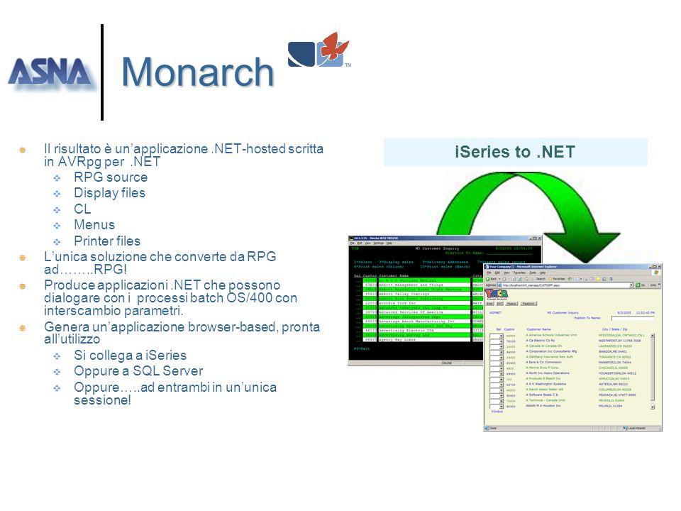 ASNA Monarch ] Monarch Trasforma le applicazioni iSeries ILE RPG ed RPG/400 in applicazioni native Microsoft.NET Facilita lutilizzo di programmi RPG p