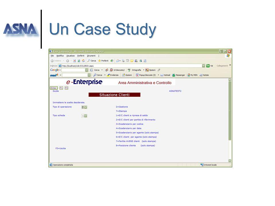 Un Case Study la soluzione ] Piano di lavoro Base A.Ammva) 2gg predisposizione librerie iSeries 3gg Disegno ed applicazione standards interfacce e log