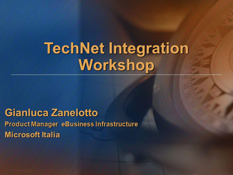 TechNet Integration Workshop Gianluca Zanelotto Product Manager eBusiness Infrastructure Microsoft Italia