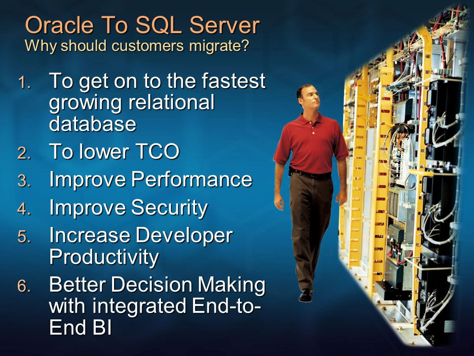 Growth & Shares Non-mainframe DB ($5.4B) Growth & Shares 2004 Oracle 43% SQL Server 26% IBM 20% Other 11% Oracle 42% 2003 SQL Server 24% Other 12% IBM 22% +18 +15 +2 Growth & Shares Non-mainframe DB ($5.4B) Growth & Shares 2004 Oracle 43% SQL Server 26% IBM 20% Other 11% Passed IBM in 2003 2004 Relational DB Market Source: Gartner Windows is the leading OS platform By OS Platform Non-mainframe DB ($6 Bil) By OS Platform Windows 51% Unix/Linux 49% Oracle 42% 2003 SQL Server 24% Other 12% IBM 22% SQL Server Leads on Windows Windows Database Market ($3.1 Bil) Oracle 25% SQL Server 51% IBM 16% Other 8% +18% +15% +2%