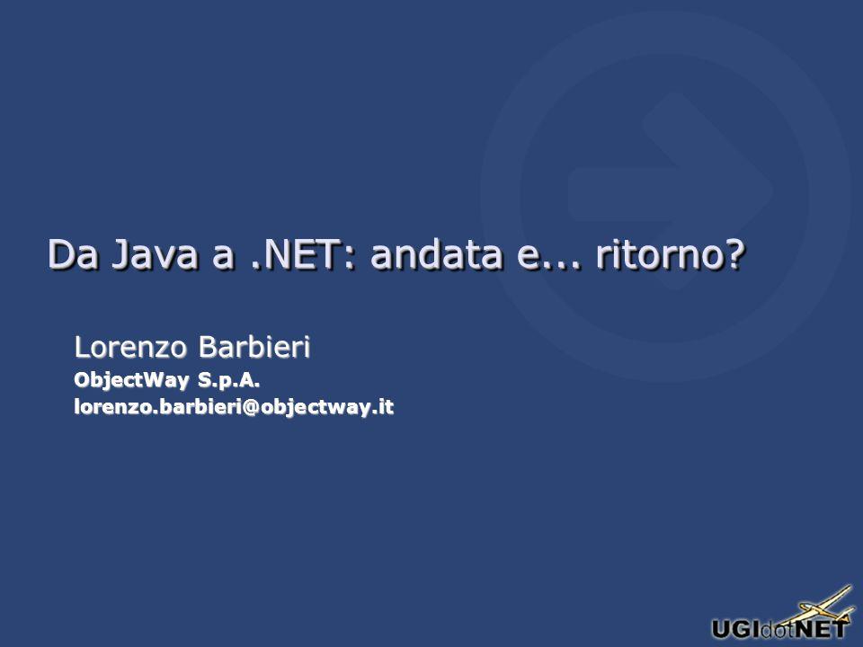 Novità di Java 5.0 già presenti in C# Boxing/Unboxing dei tipi valueBoxing/Unboxing dei tipi value EnumEnum ForeachForeach Attributi (solo come Metadati)Attributi (solo come Metadati) Java 5.0 introduce i Generics che in C# appariranno nella 2.0Java 5.0 introduce i Generics che in C# appariranno nella 2.0 –Non hanno la stessa implementazione, quelli di Java sono retrocompatibili Altre: http://java.sun.com/j2se/1.5.0/docs/relnotes/features.htmlAltre: http://java.sun.com/j2se/1.5.0/docs/relnotes/features.html http://java.sun.com/j2se/1.5.0/docs/relnotes/features.html Boxing/Unboxing dei tipi valueBoxing/Unboxing dei tipi value EnumEnum ForeachForeach Attributi (solo come Metadati)Attributi (solo come Metadati) Java 5.0 introduce i Generics che in C# appariranno nella 2.0Java 5.0 introduce i Generics che in C# appariranno nella 2.0 –Non hanno la stessa implementazione, quelli di Java sono retrocompatibili Altre: http://java.sun.com/j2se/1.5.0/docs/relnotes/features.htmlAltre: http://java.sun.com/j2se/1.5.0/docs/relnotes/features.html http://java.sun.com/j2se/1.5.0/docs/relnotes/features.html