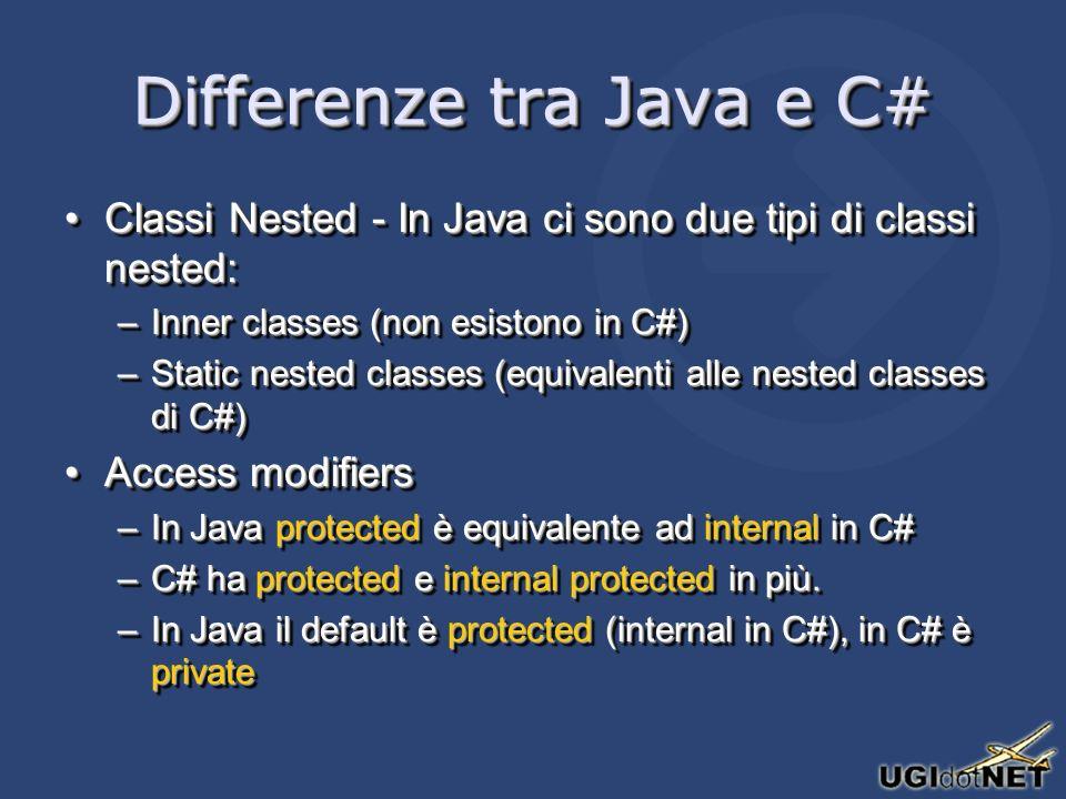 Differenze tra Java e C# Classi Nested - In Java ci sono due tipi di classi nested:Classi Nested - In Java ci sono due tipi di classi nested: –Inner classes (non esistono in C#) –Static nested classes (equivalenti alle nested classes di C#) Access modifiersAccess modifiers –In Java protected è equivalente ad internal in C# –C# ha protected e internal protected in più.