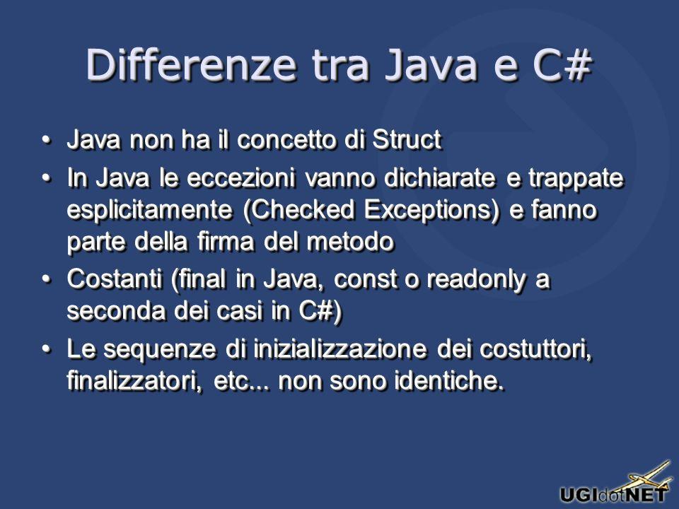 Differenze tra Java e C# Java non ha il concetto di StructJava non ha il concetto di Struct In Java le eccezioni vanno dichiarate e trappate esplicitamente (Checked Exceptions) e fanno parte della firma del metodoIn Java le eccezioni vanno dichiarate e trappate esplicitamente (Checked Exceptions) e fanno parte della firma del metodo Costanti (final in Java, const o readonly a seconda dei casi in C#)Costanti (final in Java, const o readonly a seconda dei casi in C#) Le sequenze di inizializzazione dei costuttori, finalizzatori, etc...