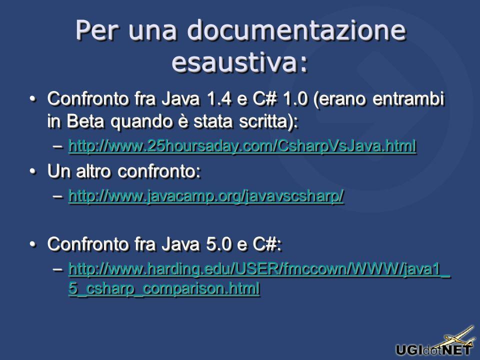 Per una documentazione esaustiva: Confronto fra Java 1.4 e C# 1.0 (erano entrambi in Beta quando è stata scritta):Confronto fra Java 1.4 e C# 1.0 (erano entrambi in Beta quando è stata scritta): –http://www.25hoursaday.com/CsharpVsJava.html http://www.25hoursaday.com/CsharpVsJava.html Un altro confronto:Un altro confronto: –http://www.javacamp.org/javavscsharp/ http://www.javacamp.org/javavscsharp/ Confronto fra Java 5.0 e C#:Confronto fra Java 5.0 e C#: –http://www.harding.edu/USER/fmccown/WWW/java1_ 5_csharp_comparison.html http://www.harding.edu/USER/fmccown/WWW/java1_ 5_csharp_comparison.htmlhttp://www.harding.edu/USER/fmccown/WWW/java1_ 5_csharp_comparison.html Confronto fra Java 1.4 e C# 1.0 (erano entrambi in Beta quando è stata scritta):Confronto fra Java 1.4 e C# 1.0 (erano entrambi in Beta quando è stata scritta): –http://www.25hoursaday.com/CsharpVsJava.html http://www.25hoursaday.com/CsharpVsJava.html Un altro confronto:Un altro confronto: –http://www.javacamp.org/javavscsharp/ http://www.javacamp.org/javavscsharp/ Confronto fra Java 5.0 e C#:Confronto fra Java 5.0 e C#: –http://www.harding.edu/USER/fmccown/WWW/java1_ 5_csharp_comparison.html http://www.harding.edu/USER/fmccown/WWW/java1_ 5_csharp_comparison.htmlhttp://www.harding.edu/USER/fmccown/WWW/java1_ 5_csharp_comparison.html