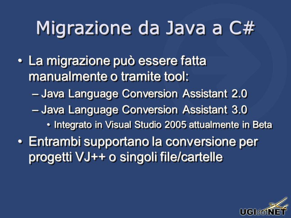 Migrazione da Java a C# La migrazione può essere fatta manualmente o tramite tool:La migrazione può essere fatta manualmente o tramite tool: –Java Language Conversion Assistant 2.0 –Java Language Conversion Assistant 3.0 Integrato in Visual Studio 2005 attualmente in BetaIntegrato in Visual Studio 2005 attualmente in Beta Entrambi supportano la conversione per progetti VJ++ o singoli file/cartelleEntrambi supportano la conversione per progetti VJ++ o singoli file/cartelle La migrazione può essere fatta manualmente o tramite tool:La migrazione può essere fatta manualmente o tramite tool: –Java Language Conversion Assistant 2.0 –Java Language Conversion Assistant 3.0 Integrato in Visual Studio 2005 attualmente in BetaIntegrato in Visual Studio 2005 attualmente in Beta Entrambi supportano la conversione per progetti VJ++ o singoli file/cartelleEntrambi supportano la conversione per progetti VJ++ o singoli file/cartelle