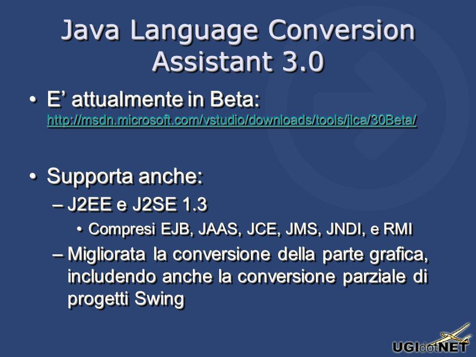 Java Language Conversion Assistant 3.0 E attualmente in Beta: http://msdn.microsoft.com/vstudio/downloads/tools/jlca/30Beta/E attualmente in Beta: http://msdn.microsoft.com/vstudio/downloads/tools/jlca/30Beta/ http://msdn.microsoft.com/vstudio/downloads/tools/jlca/30Beta/ Supporta anche:Supporta anche: –J2EE e J2SE 1.3 Compresi EJB, JAAS, JCE, JMS, JNDI, e RMICompresi EJB, JAAS, JCE, JMS, JNDI, e RMI –Migliorata la conversione della parte grafica, includendo anche la conversione parziale di progetti Swing E attualmente in Beta: http://msdn.microsoft.com/vstudio/downloads/tools/jlca/30Beta/E attualmente in Beta: http://msdn.microsoft.com/vstudio/downloads/tools/jlca/30Beta/ http://msdn.microsoft.com/vstudio/downloads/tools/jlca/30Beta/ Supporta anche:Supporta anche: –J2EE e J2SE 1.3 Compresi EJB, JAAS, JCE, JMS, JNDI, e RMICompresi EJB, JAAS, JCE, JMS, JNDI, e RMI –Migliorata la conversione della parte grafica, includendo anche la conversione parziale di progetti Swing